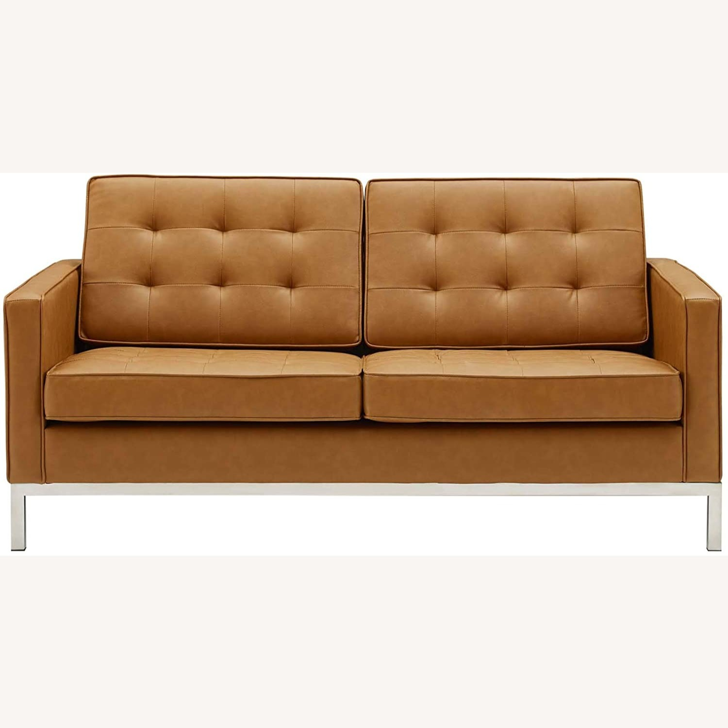 Modern Loveseat In Silver Tan Faux Leather Finish - image-1