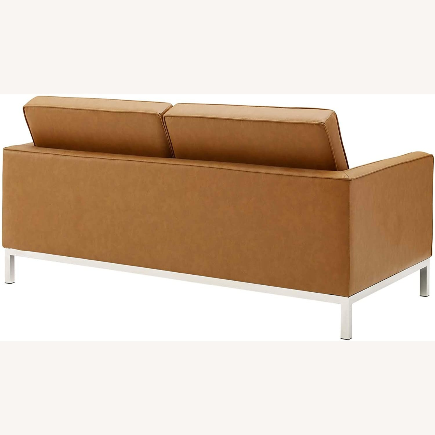 Modern Loveseat In Silver Tan Faux Leather Finish - image-2