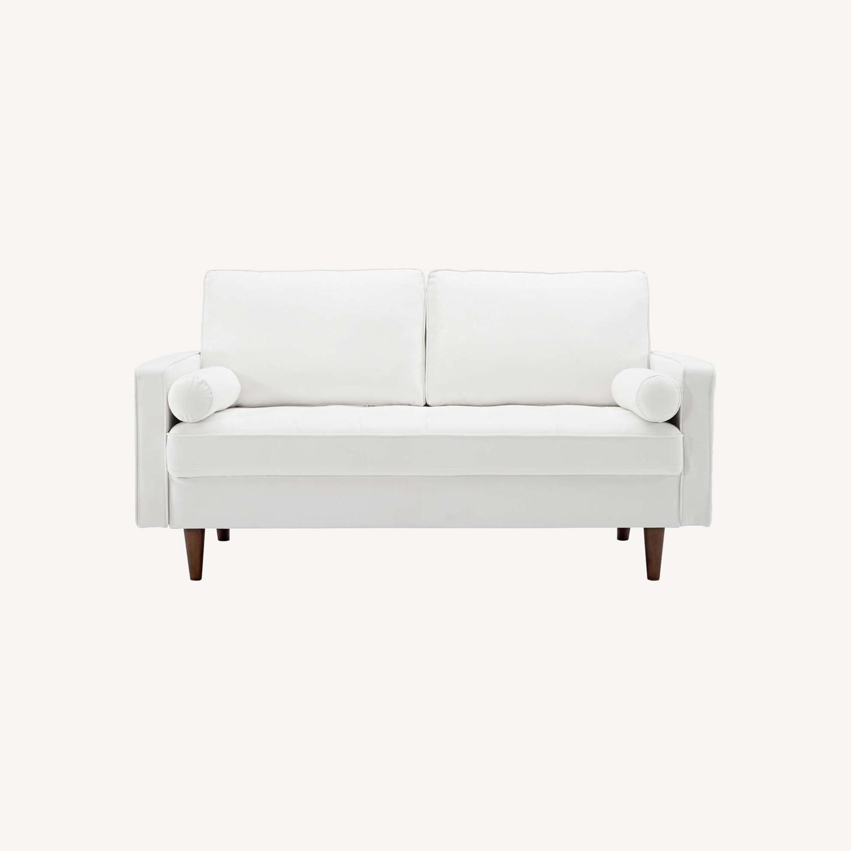 Modern Loveseat In White Velvet Finish - image-8
