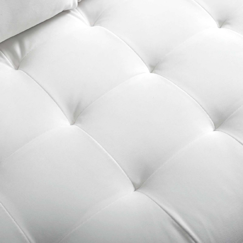 Modern Loveseat In White Velvet Finish - image-4