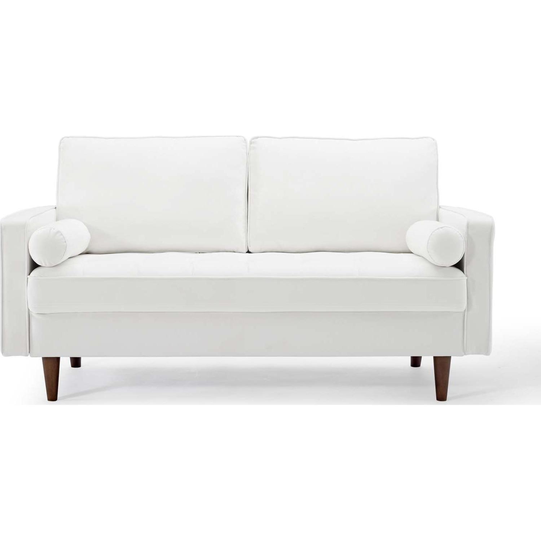 Modern Loveseat In White Velvet Finish - image-1