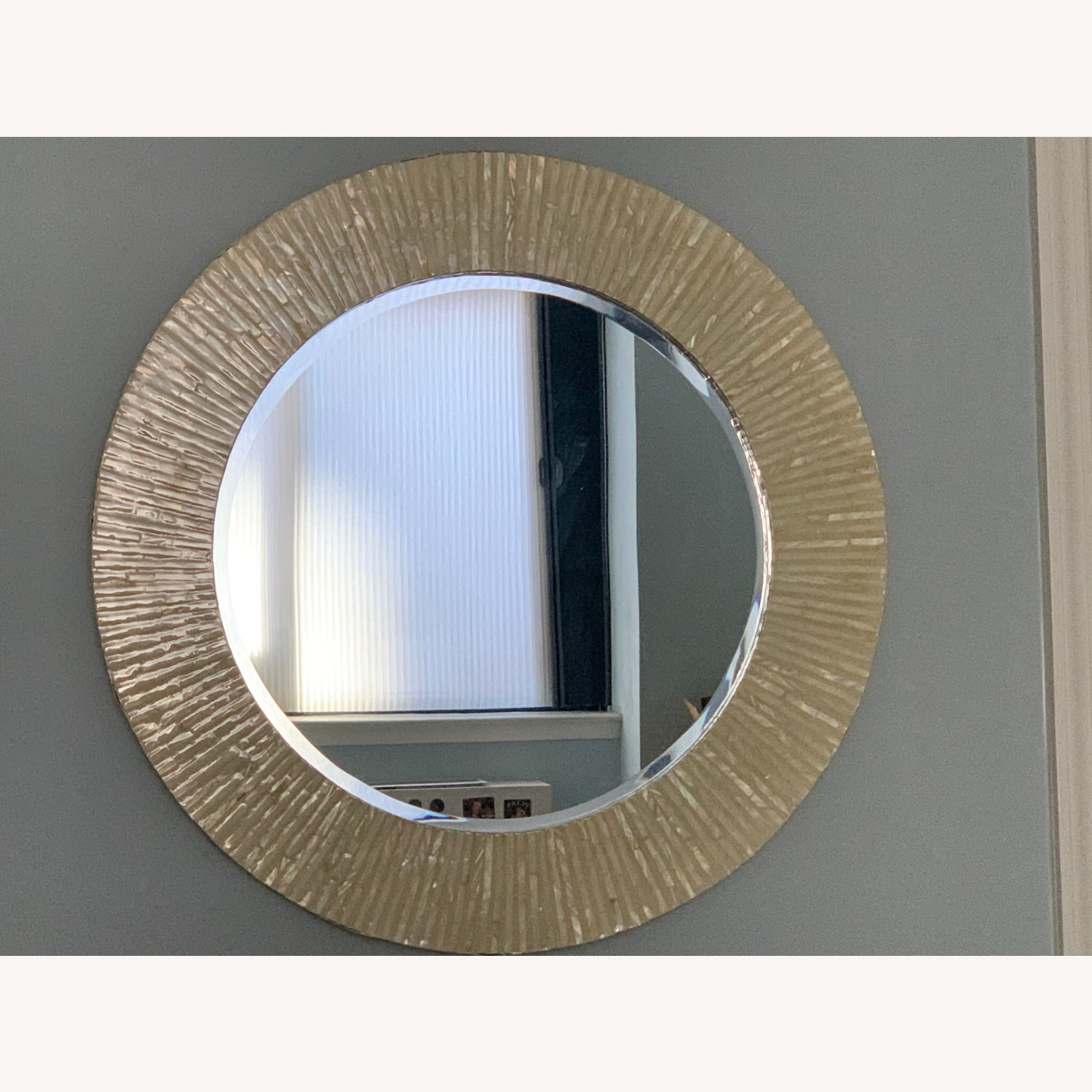 Pier 1 Mother of Pearl Round Mirror - image-1