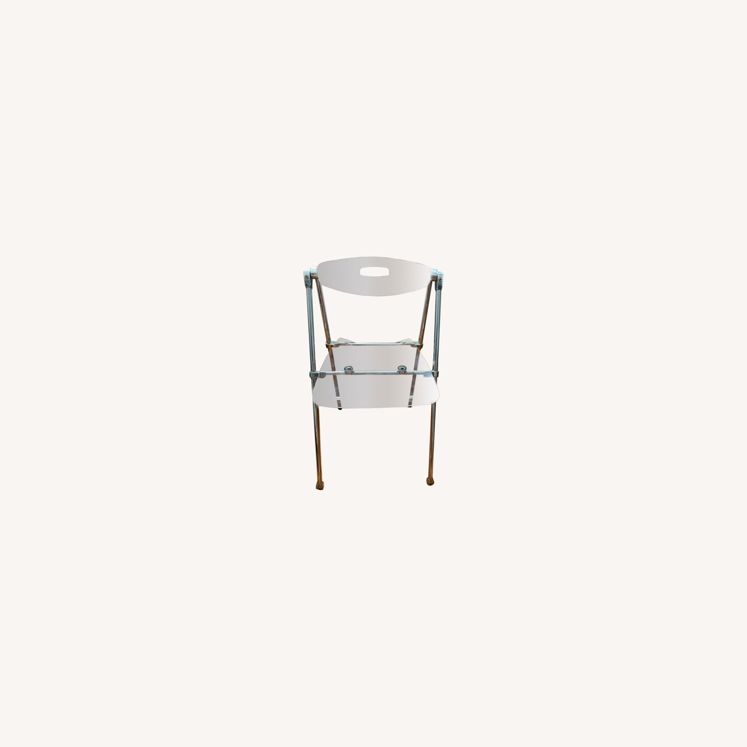 Acrylic Folding Dining Chair Moveable Backrest - image-0