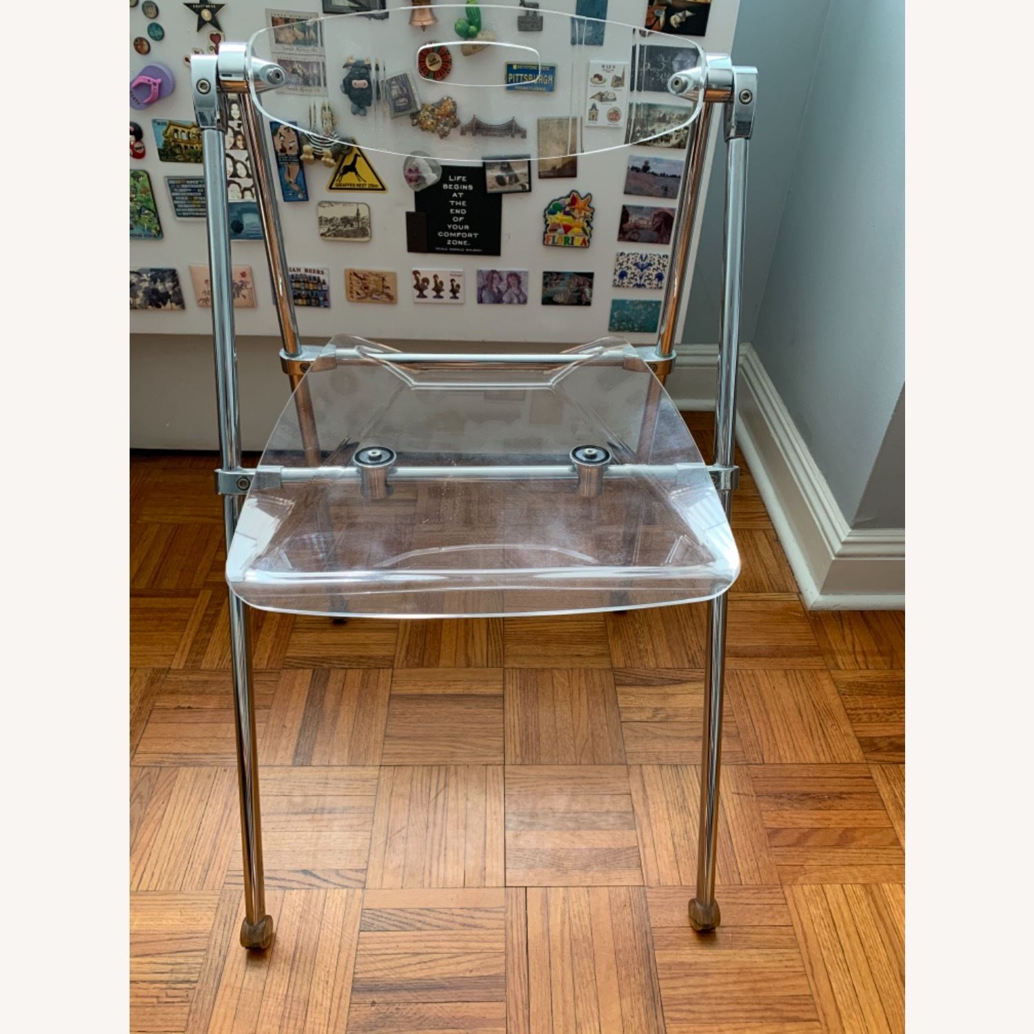 Acrylic Folding Dining Chair Moveable Backrest - image-1