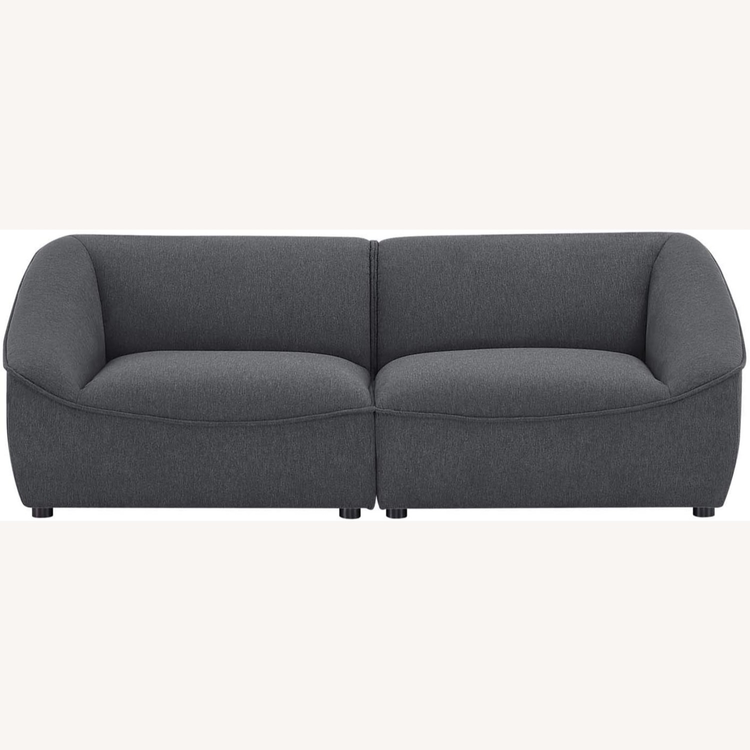 2-Piece Modern Loveseat In Charcoal Finish - image-1