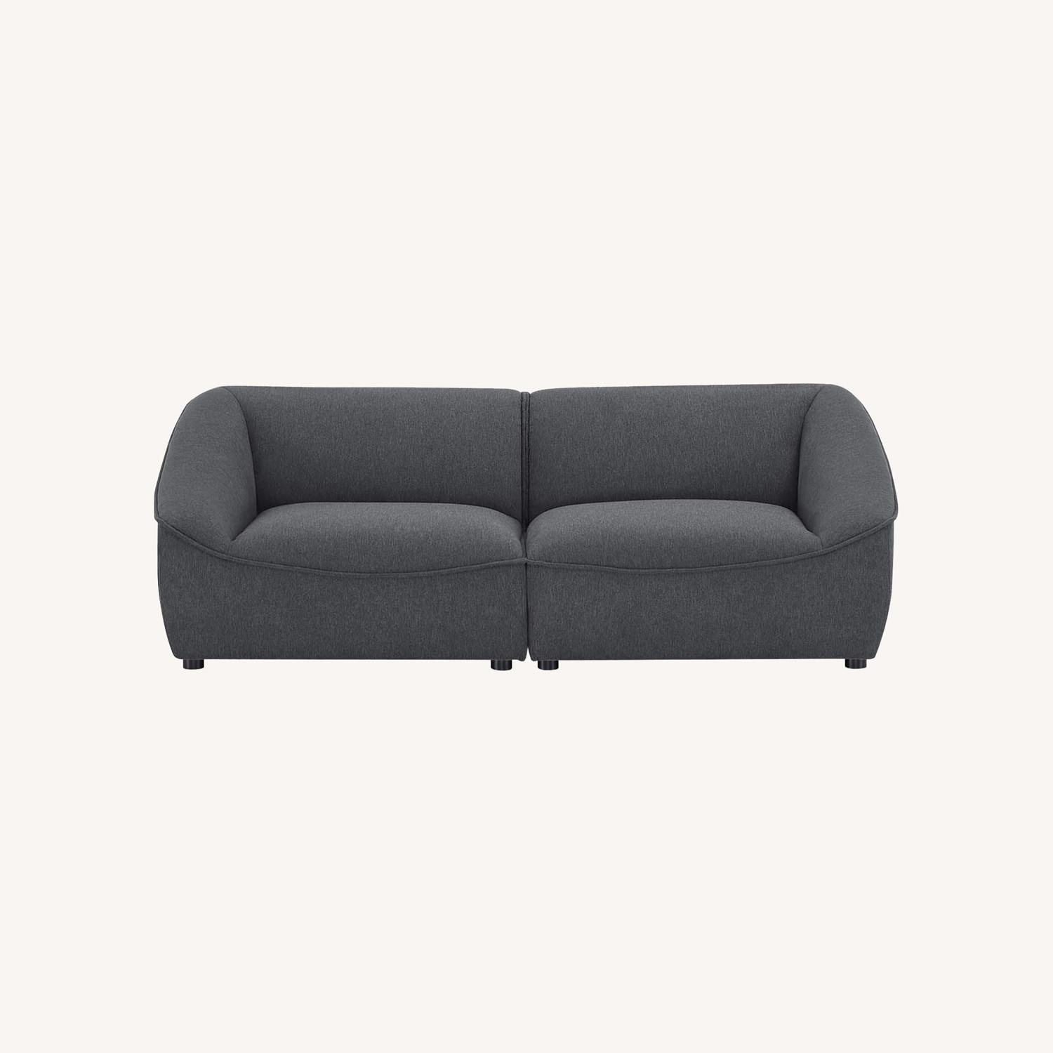 2-Piece Modern Loveseat In Charcoal Finish - image-9