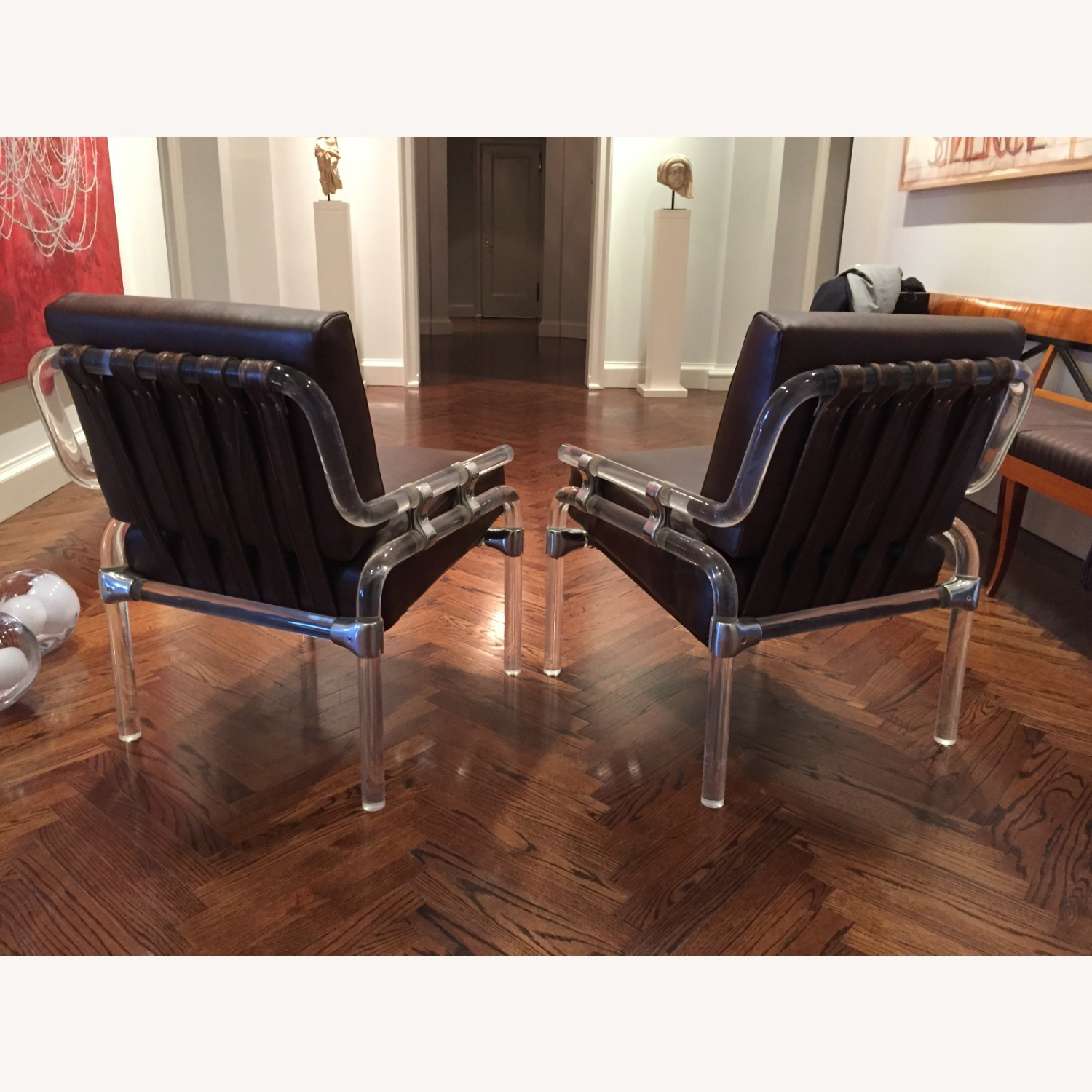 Pair of Pink Leather Jeff Messerschmidt Chairs - image-2