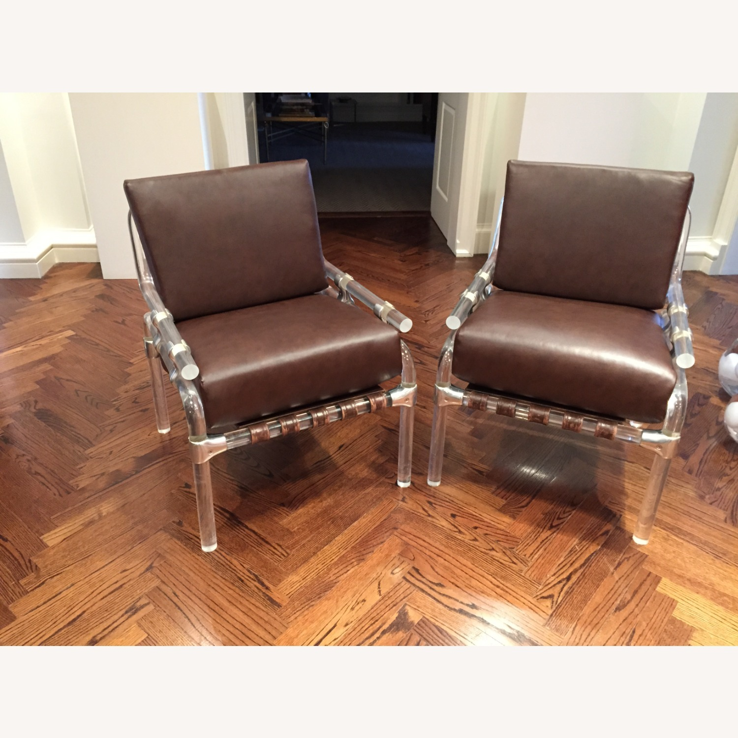 Pair of Pink Leather Jeff Messerschmidt Chairs - image-1