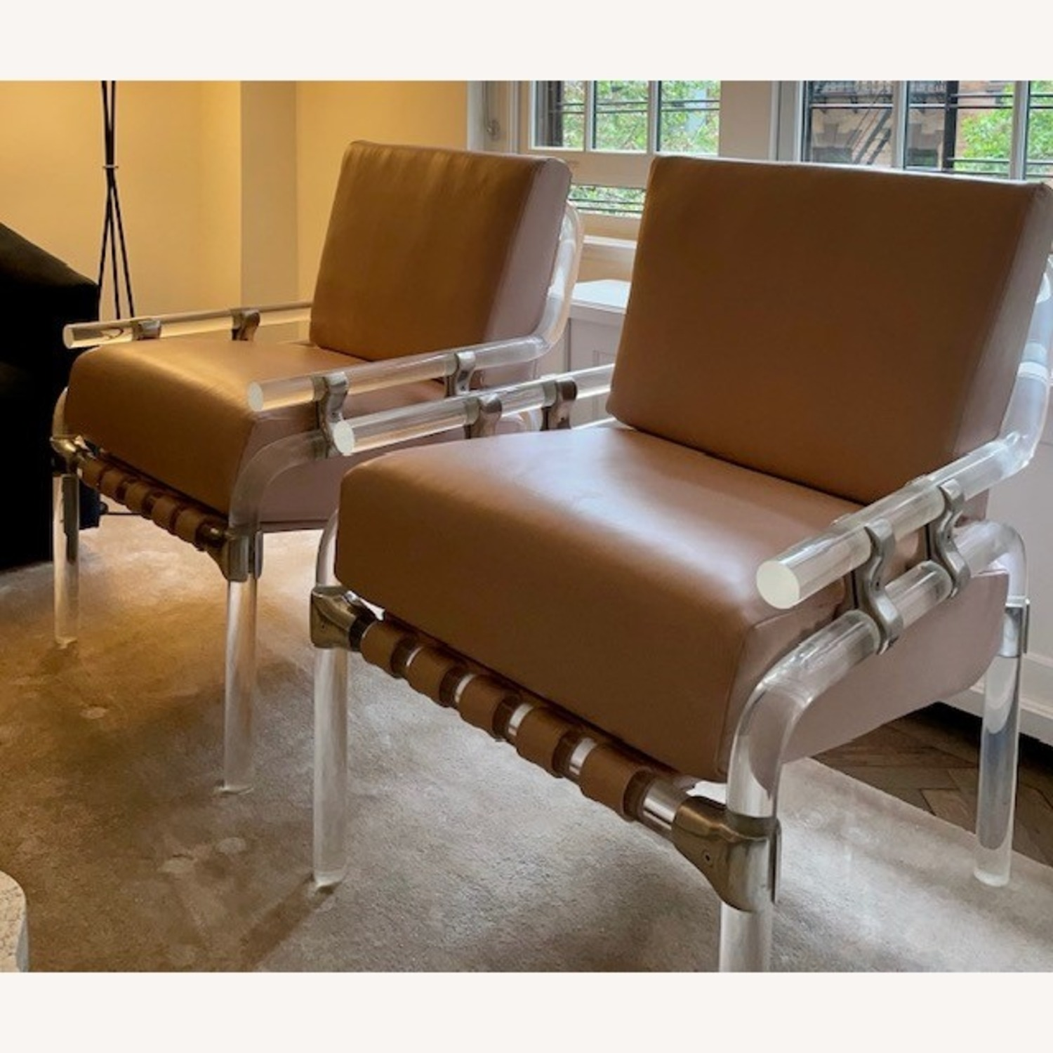 Pair of Pink Leather Jeff Messerschmidt Chairs - image-3