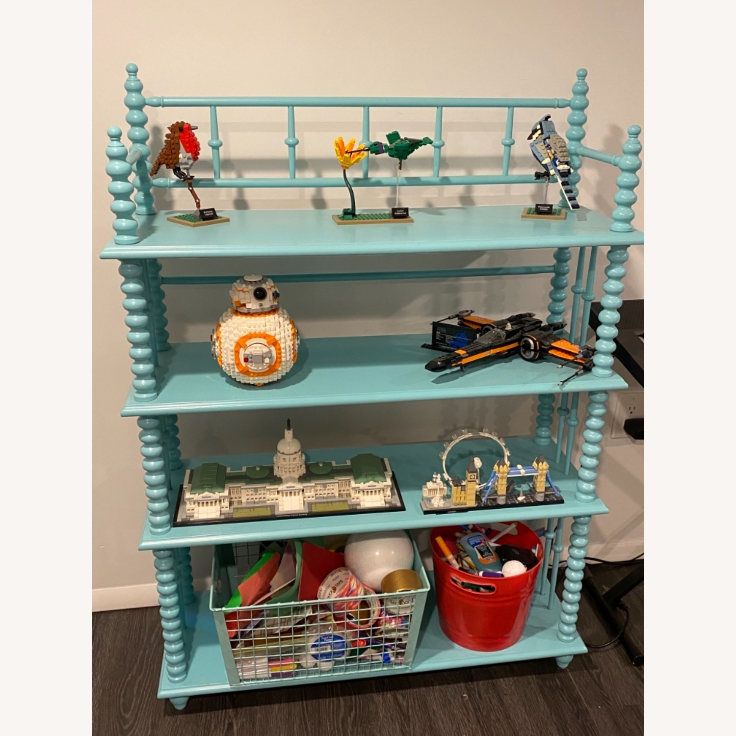 Crate & Kids Turquoise Bookcase - image-3