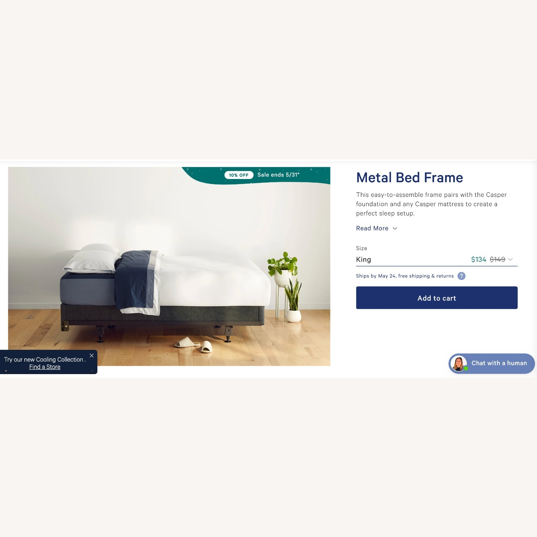 Casper Metal Bed Frame (King) - image-1