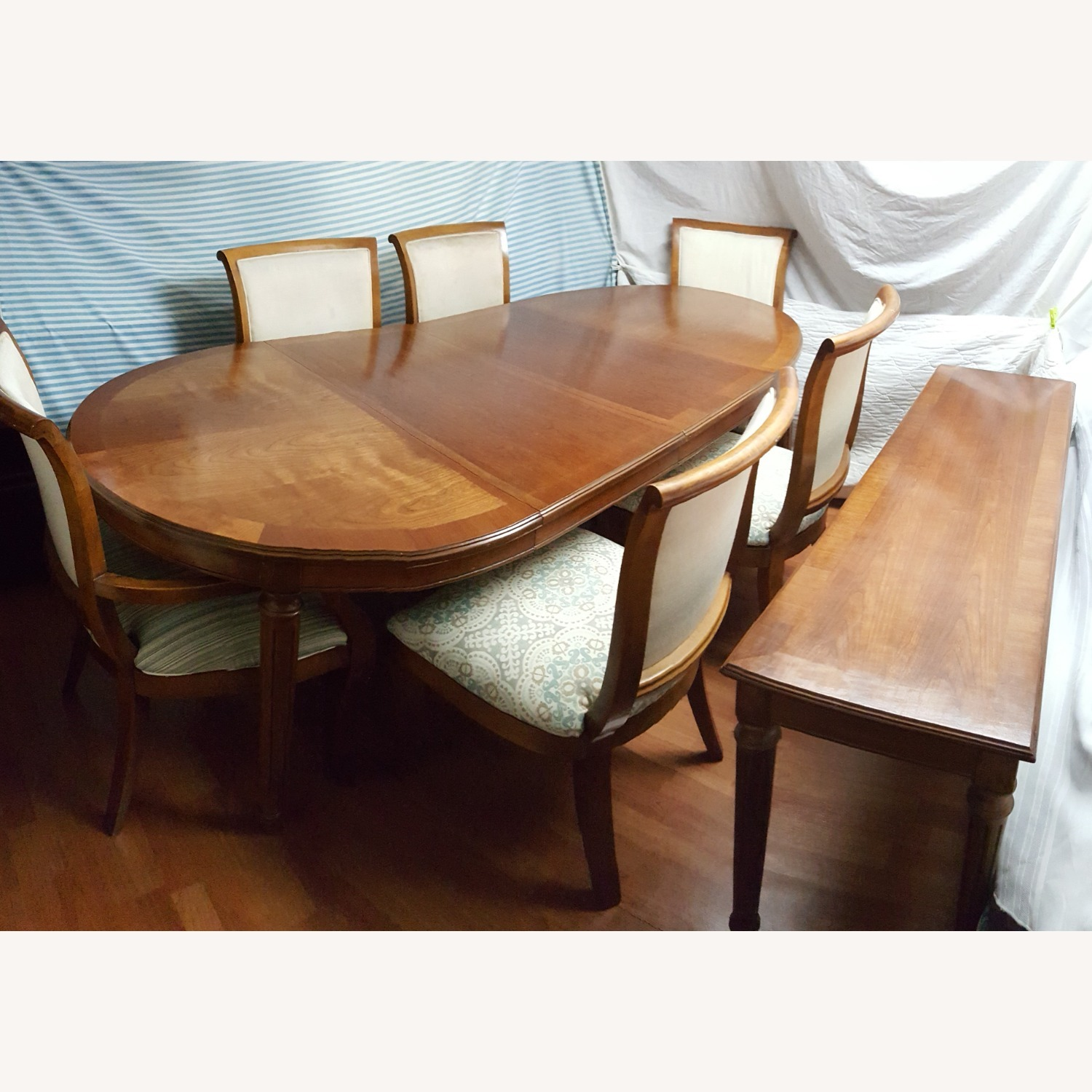 8pcs Oval Dining, Table With Removable Leaf, Set - image-2