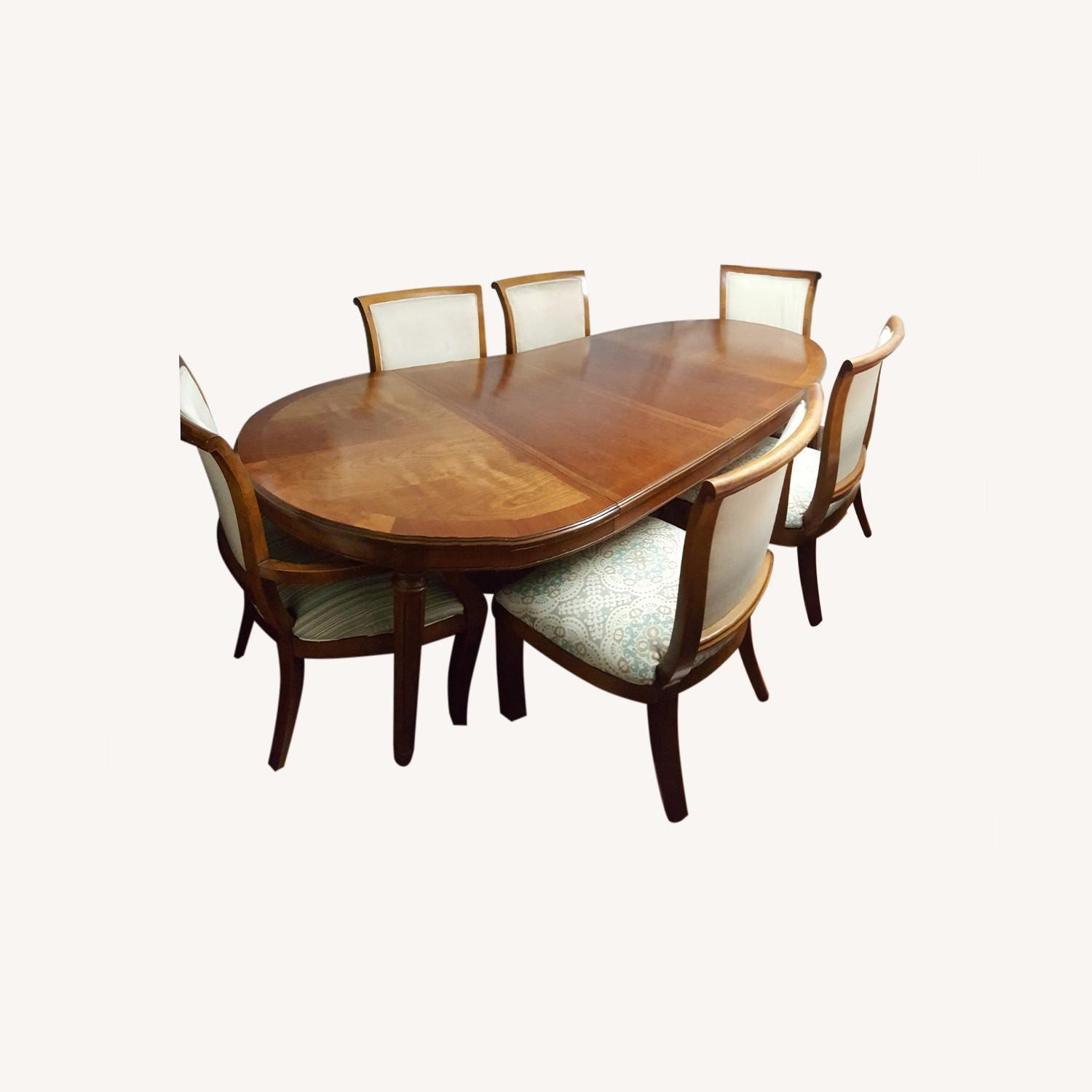 8pcs Oval Dining, Table With Removable Leaf, Set - image-0