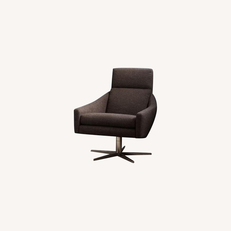 West Elm Austin Swivel Chair in Tweed Cacao - image-0