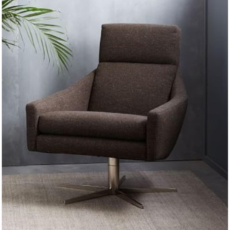 West Elm Austin Swivel Chair in Tweed Cacao - image-1