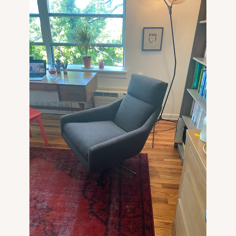West Elm Austin Swivel Chair in Tweed Cacao - image-2