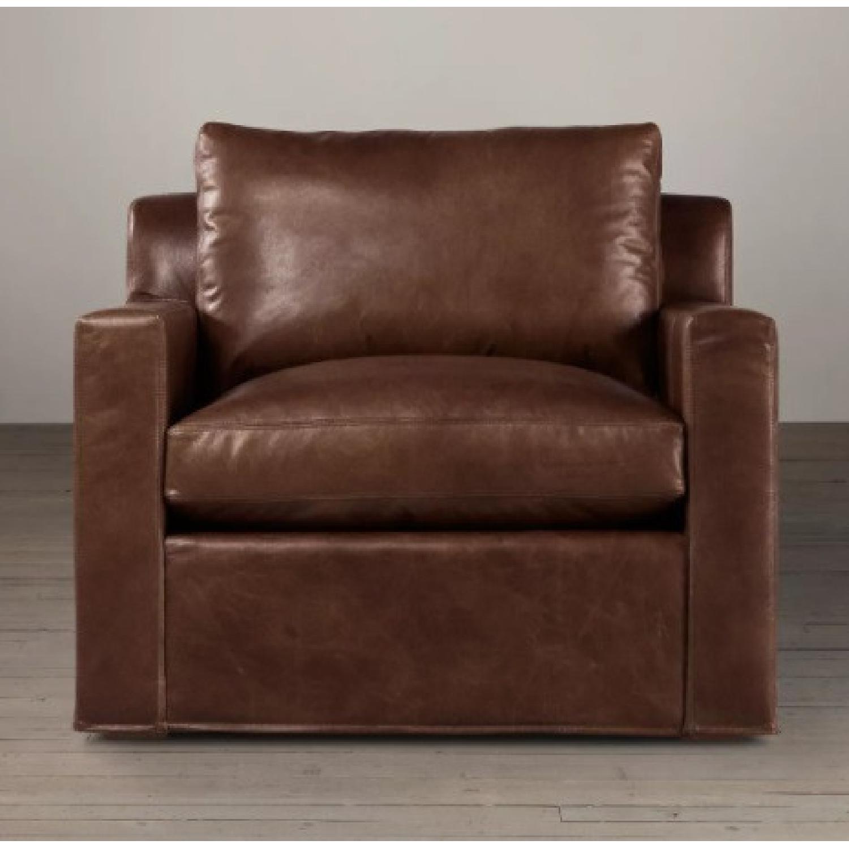 Restoration Hardware Belgian Track Leather Chair - image-0