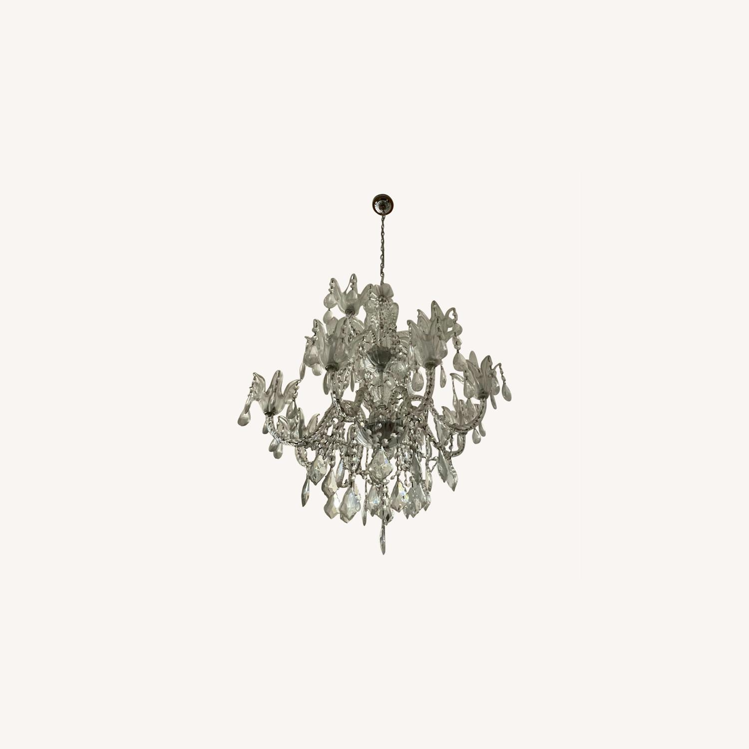 X-Large 12 Bulb Crystal 2-Tier Chandelier - image-0