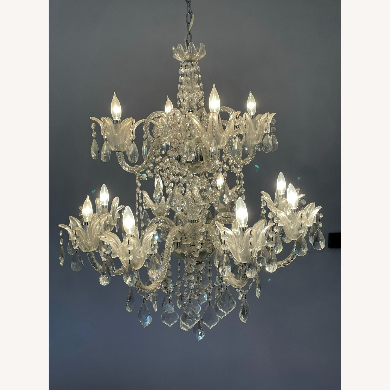 X-Large 12 Bulb Crystal 2-Tier Chandelier - image-2