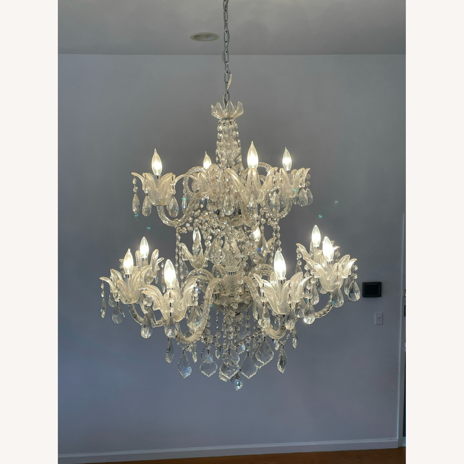 X-Large 12 Bulb Crystal 2-Tier Chandelier - image-11