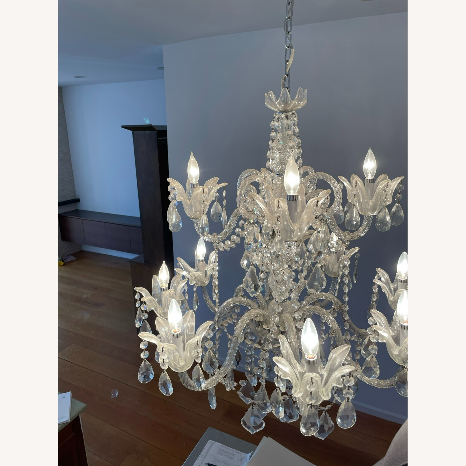 X-Large 12 Bulb Crystal 2-Tier Chandelier - image-5