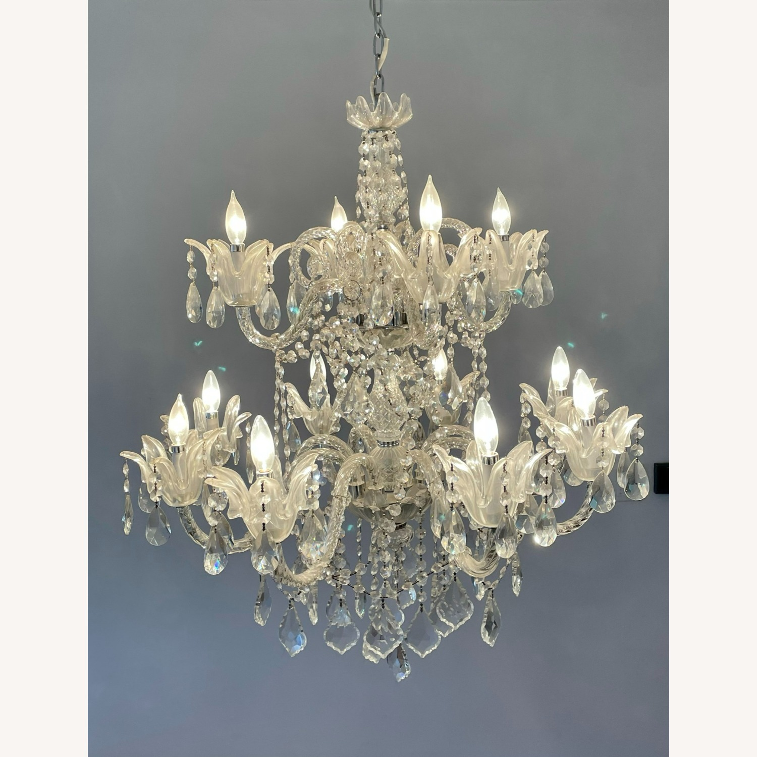 X-Large 12 Bulb Crystal 2-Tier Chandelier - image-8