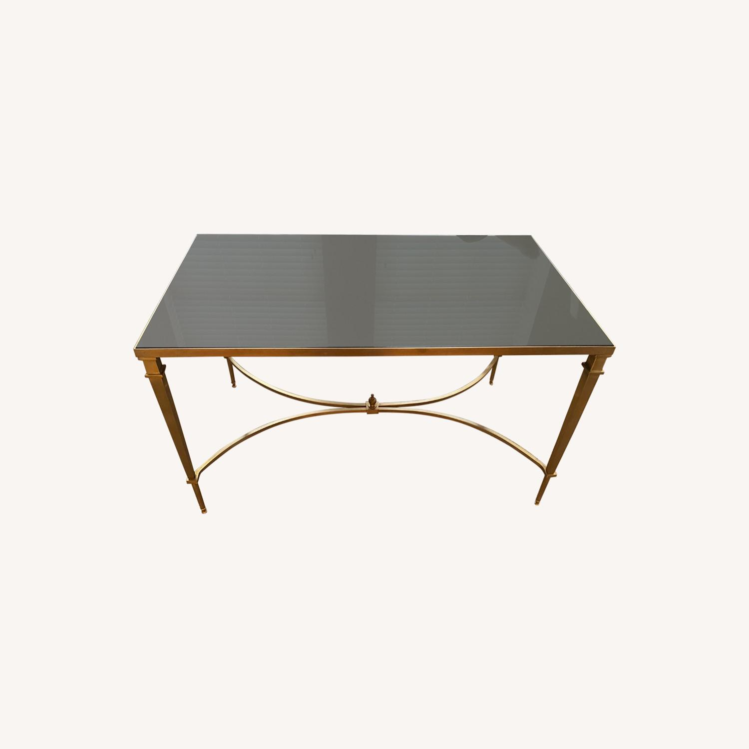Global Views Brass and Black Granite Cocktail Table - image-0
