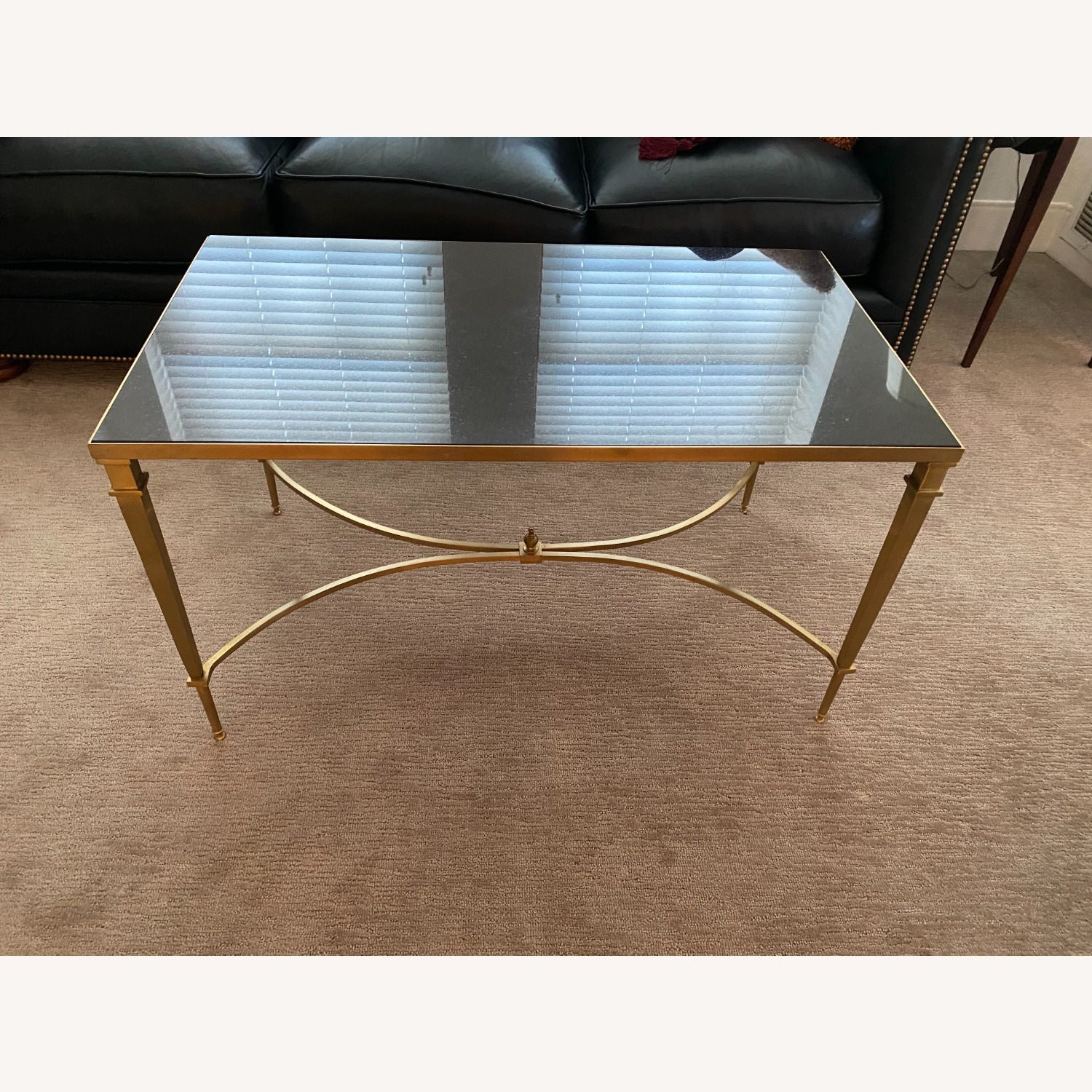 Global Views Brass and Black Granite Cocktail Table - image-1