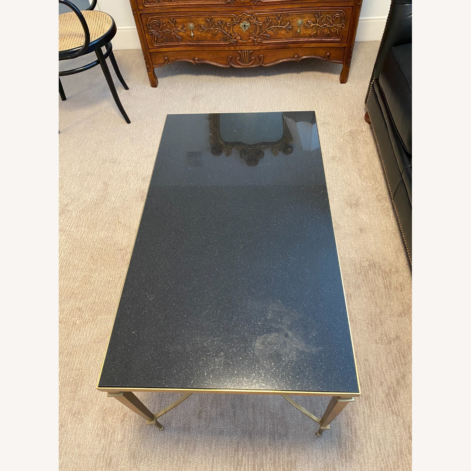 Global Views Brass and Black Granite Cocktail Table - image-2