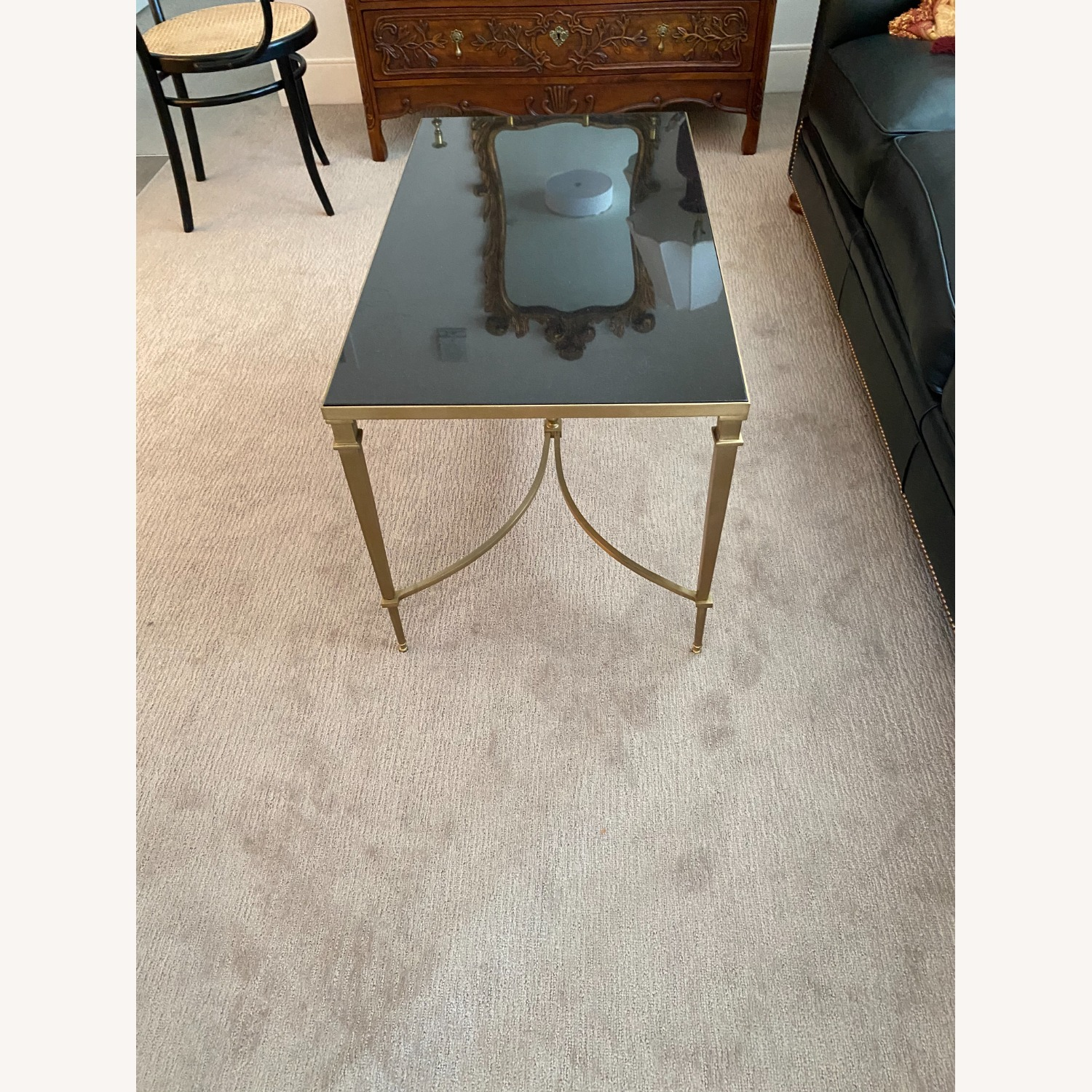 Global Views Brass and Black Granite Cocktail Table - image-3