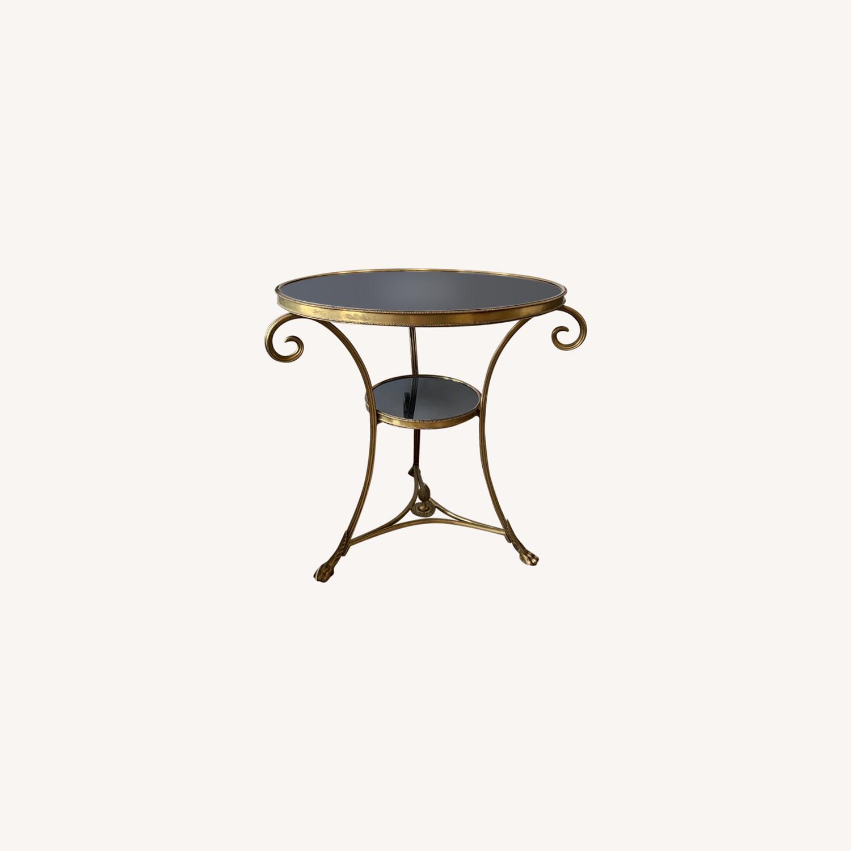 Global Views Brass & Black Granite Gueridon Table - image-0