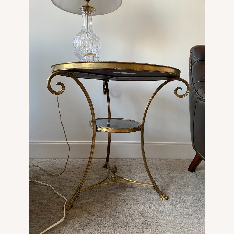 Global Views Brass & Black Granite Gueridon Table - image-1