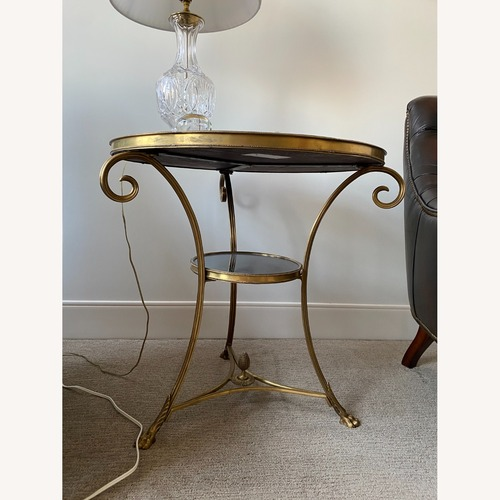 Used Global Views Brass & Black Granite Gueridon Table for sale on AptDeco
