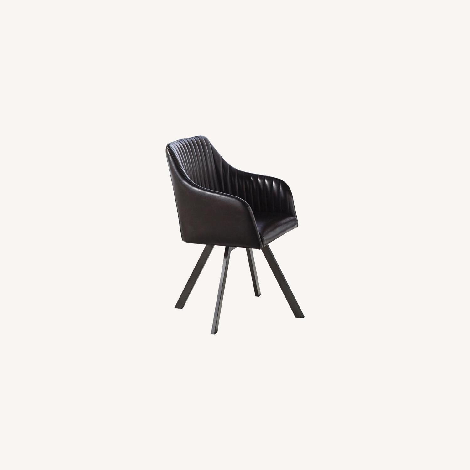Swivel Dining Chair In Black Leatherette Finish - image-4