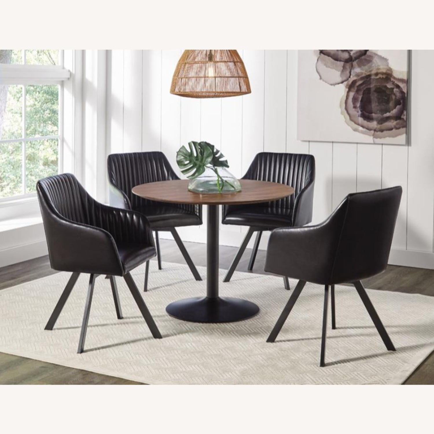 Swivel Dining Chair In Black Leatherette Finish - image-2