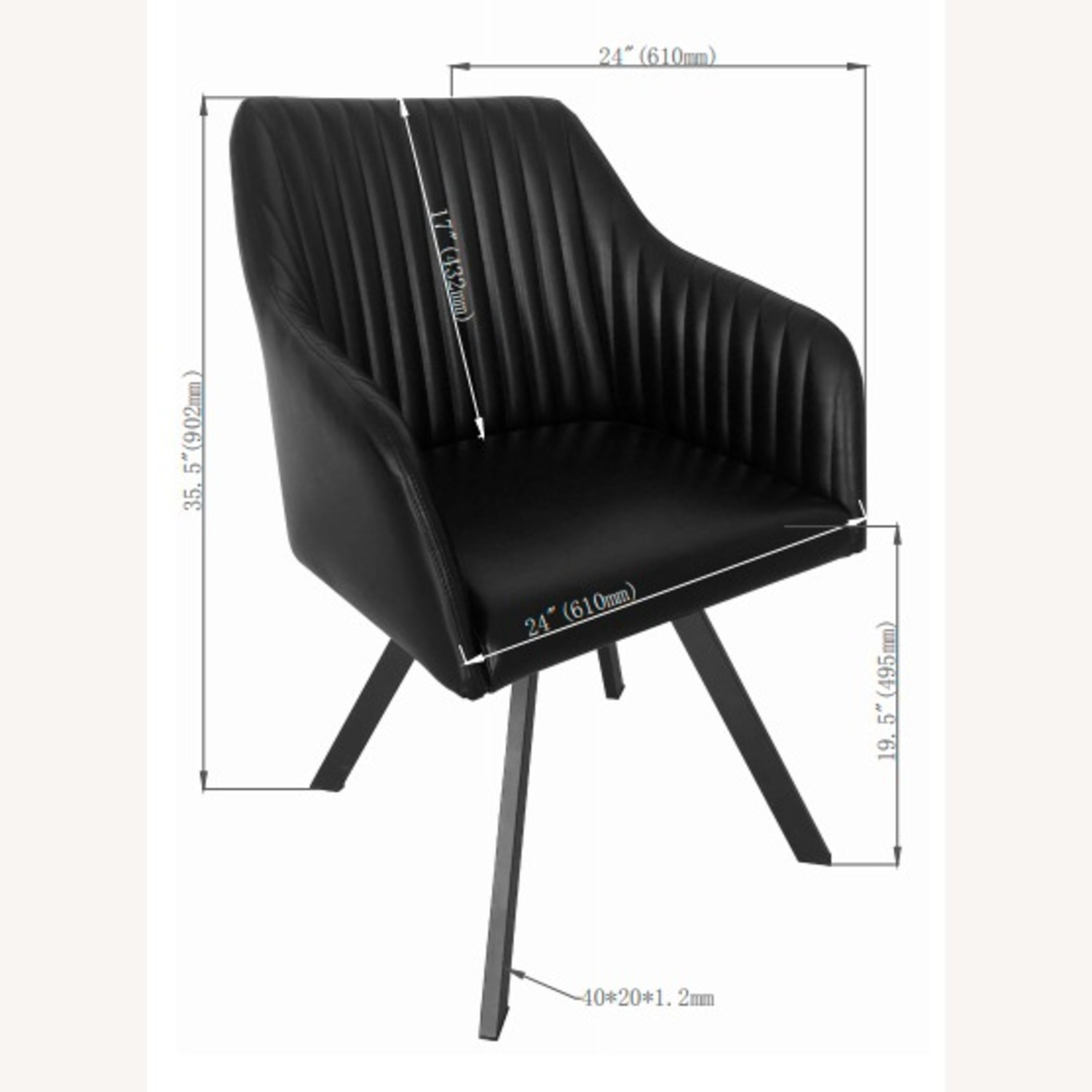 Swivel Dining Chair In Black Leatherette Finish - image-3