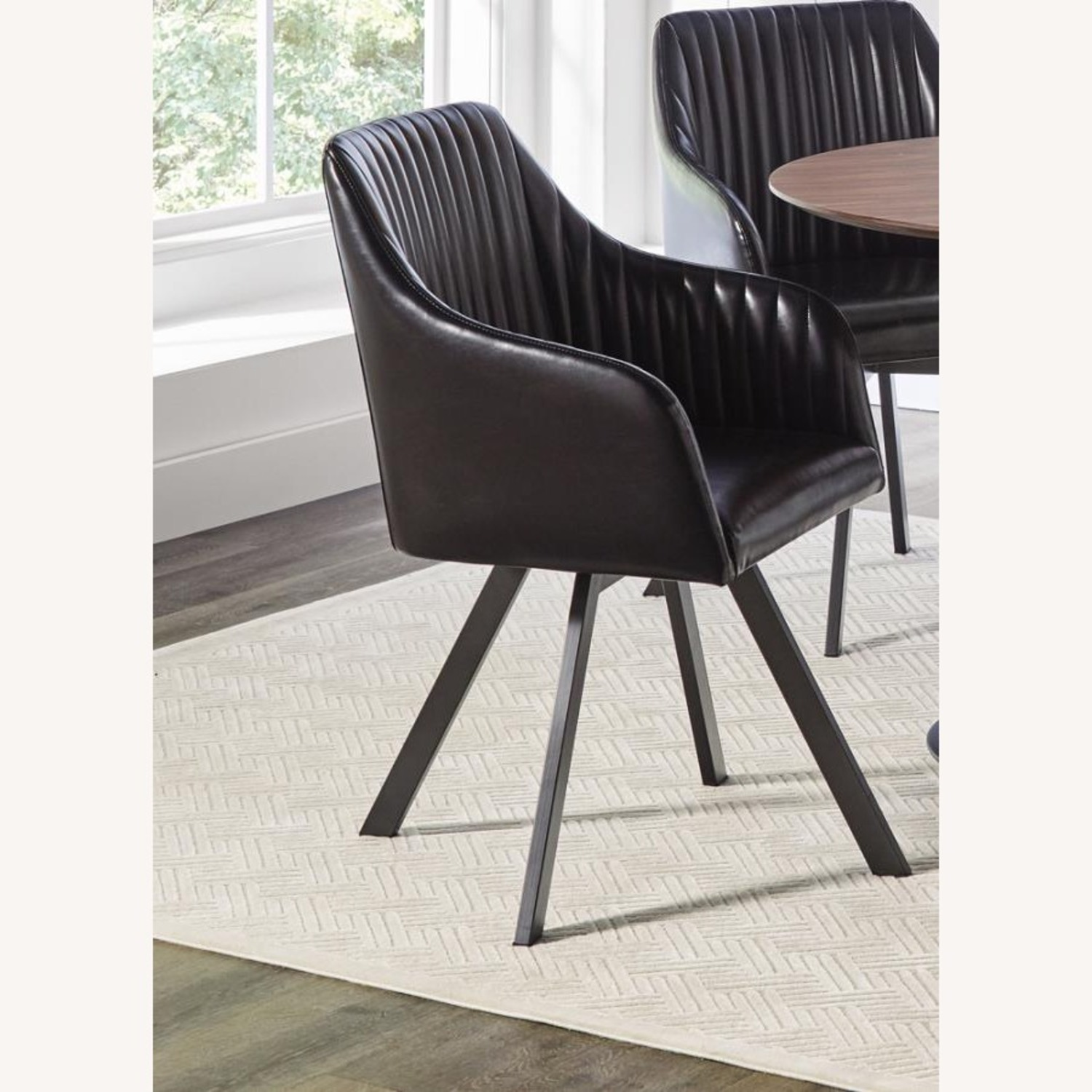 Swivel Dining Chair In Black Leatherette Finish - image-1