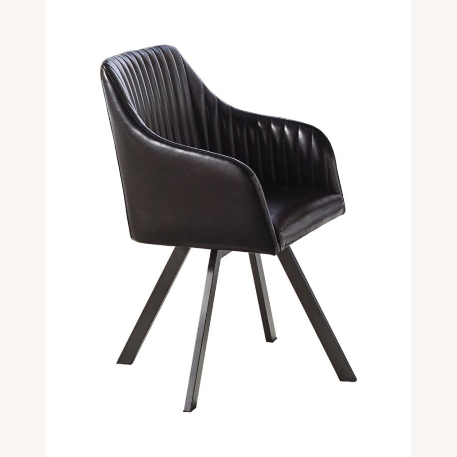 Swivel Dining Chair In Black Leatherette Finish - image-0