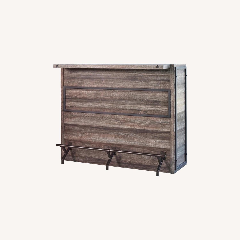 Bar Unit In Aged Oak Wood Finish W/ Wine Racks - image-5
