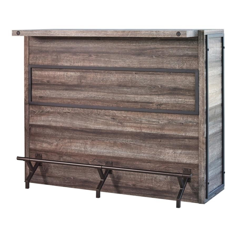 Bar Unit In Aged Oak Wood Finish W/ Wine Racks - image-0