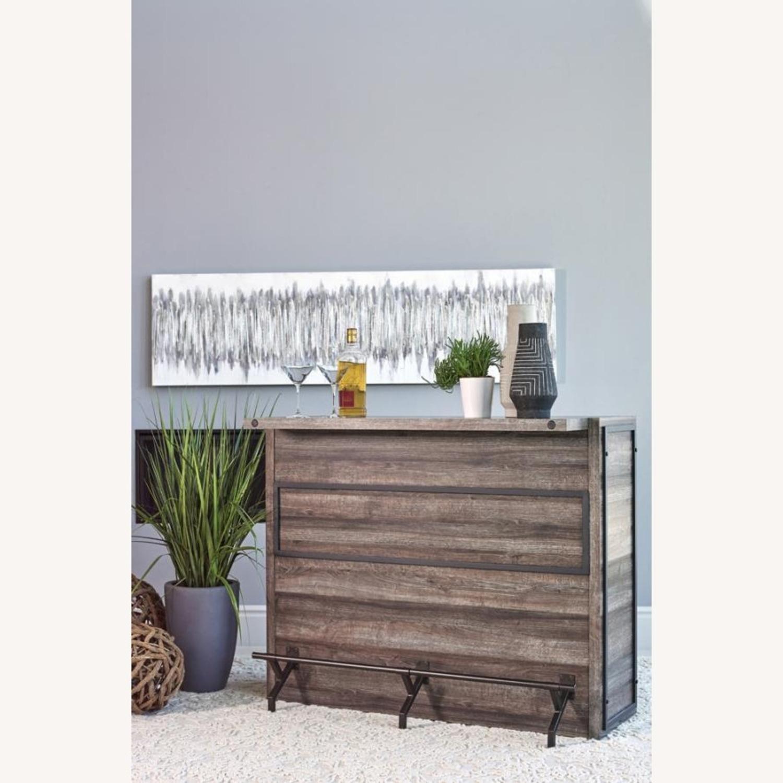 Bar Unit In Aged Oak Wood Finish W/ Wine Racks - image-2