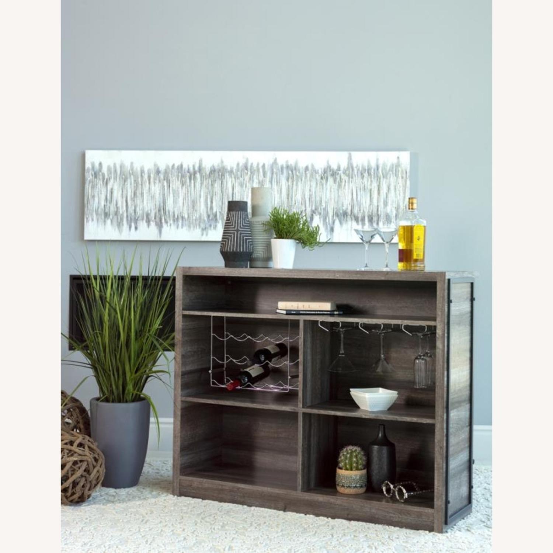 Bar Unit In Aged Oak Wood Finish W/ Wine Racks - image-3