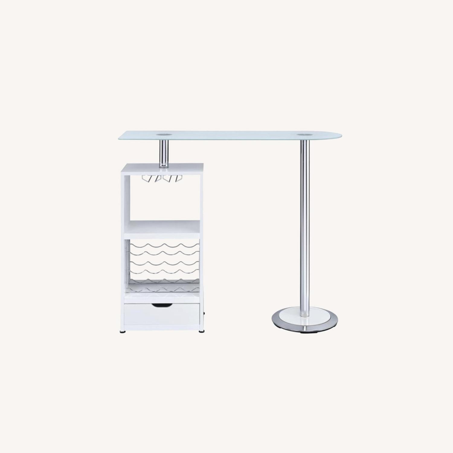 Bar Table In High Gloss White Lacquer Finish - image-7