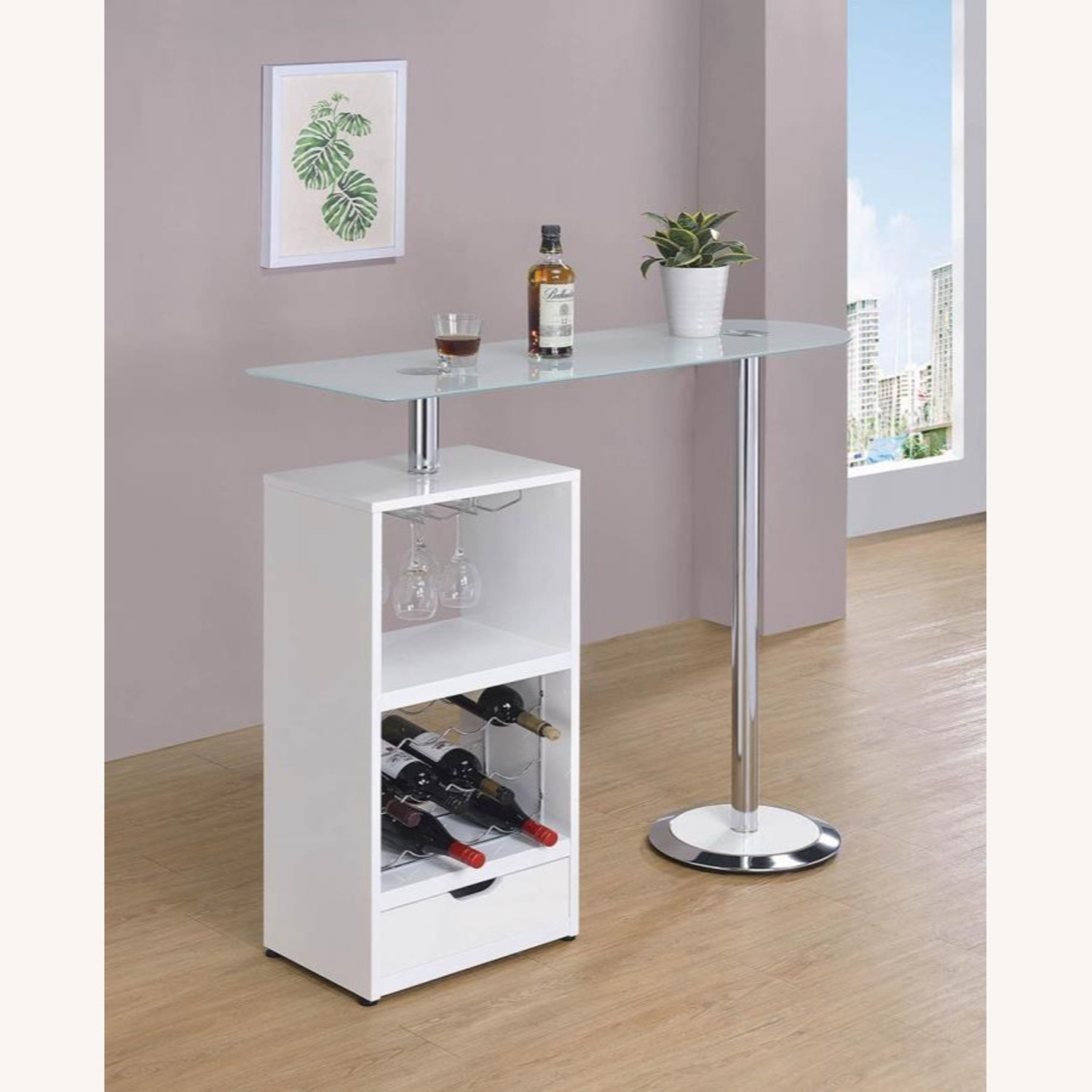 Bar Table In High Gloss White Lacquer Finish - image-5