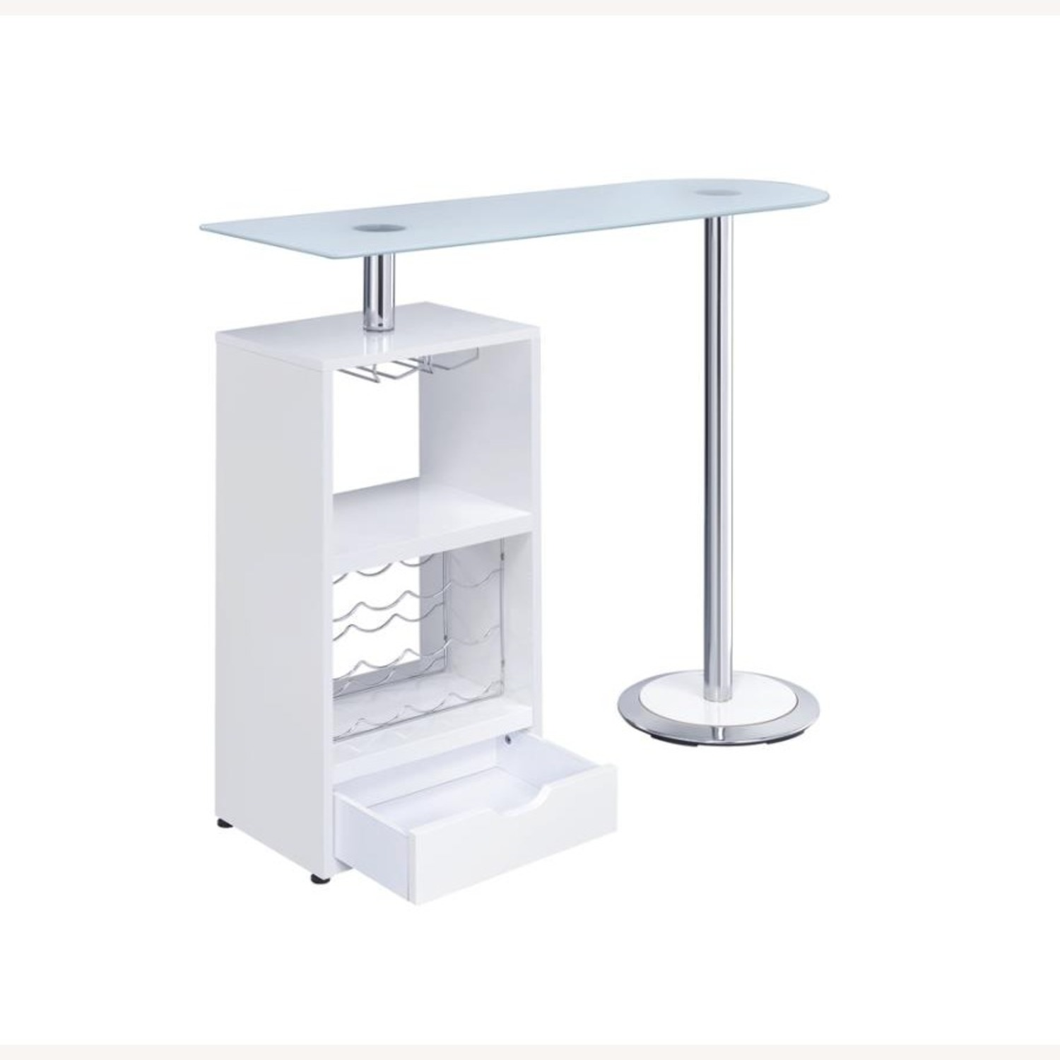 Bar Table In High Gloss White Lacquer Finish - image-2