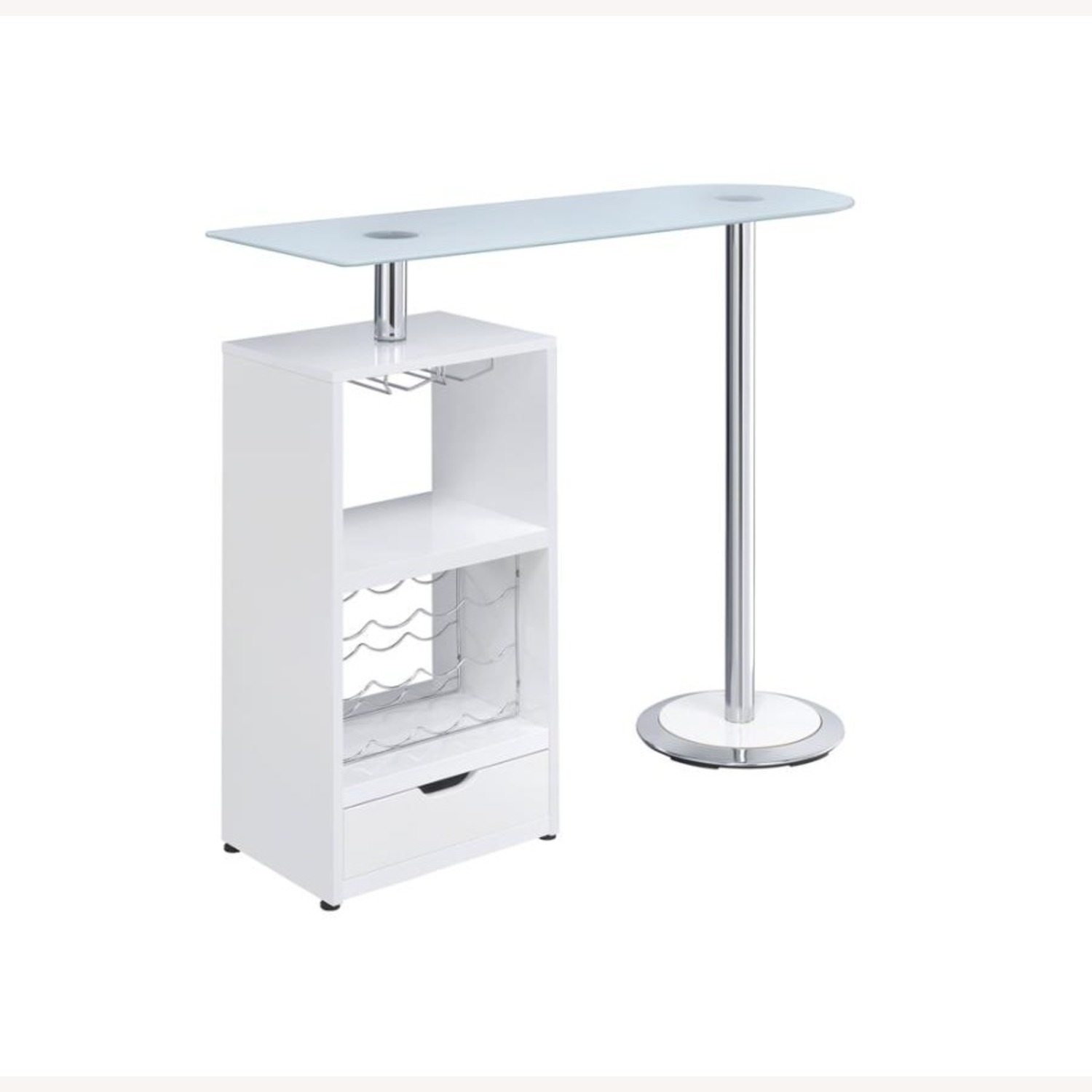 Bar Table In High Gloss White Lacquer Finish - image-0