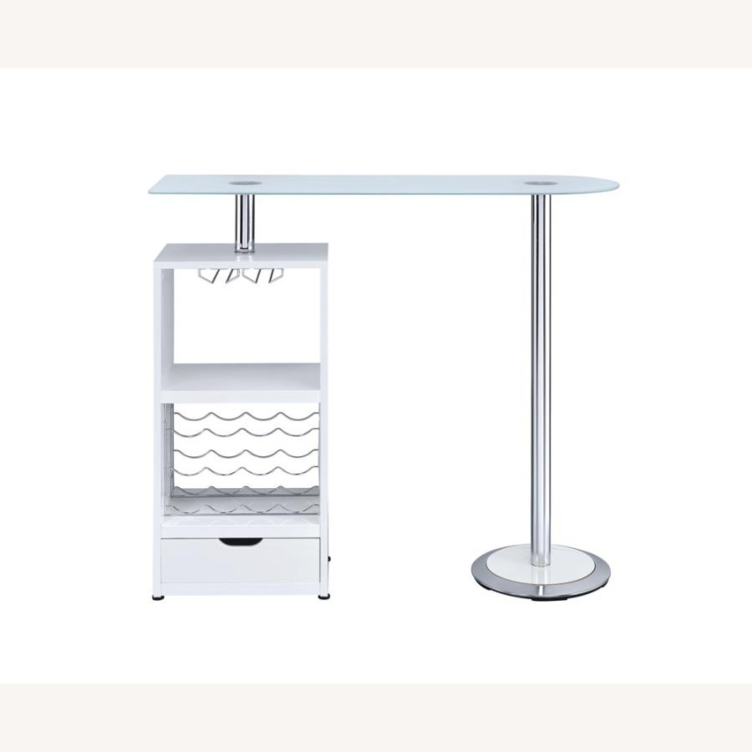 Bar Table In High Gloss White Lacquer Finish - image-3
