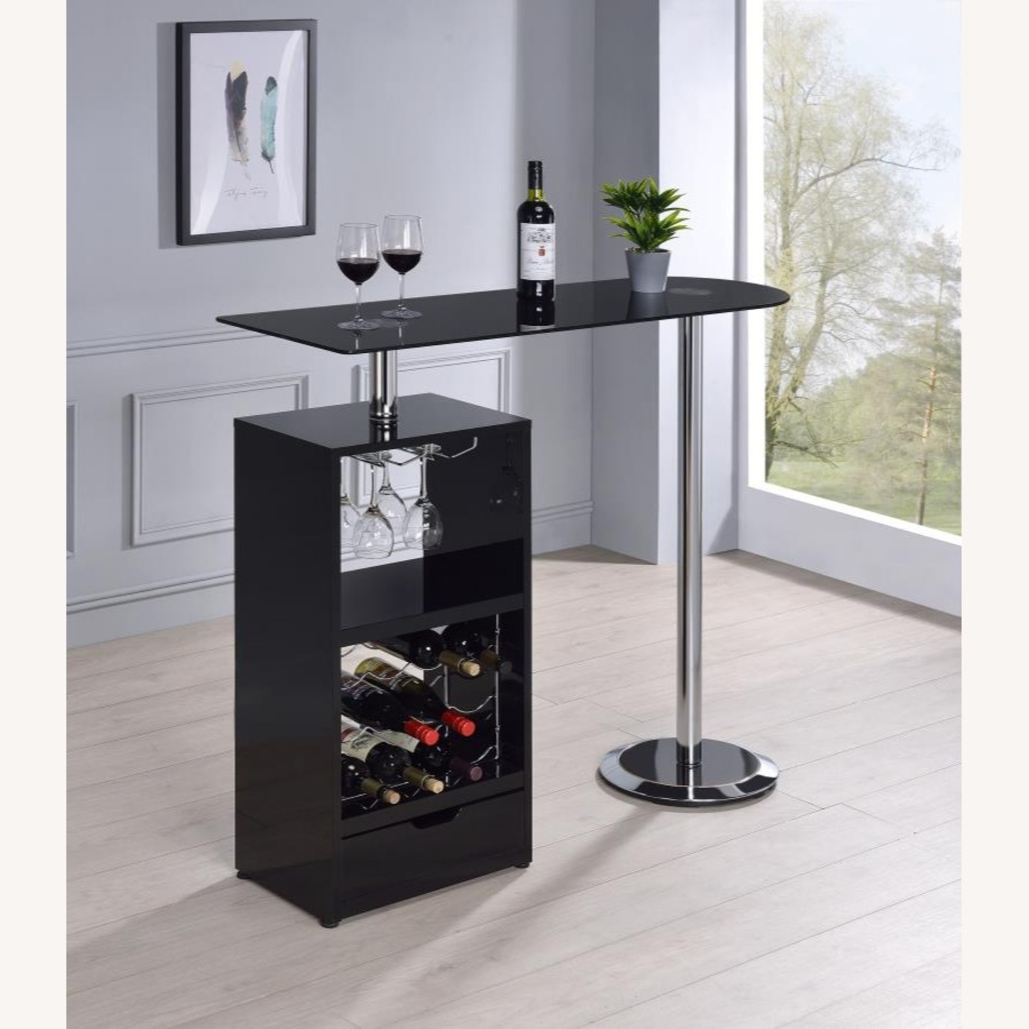 Bar Table In High Gloss Black Lacquer Finish - image-6