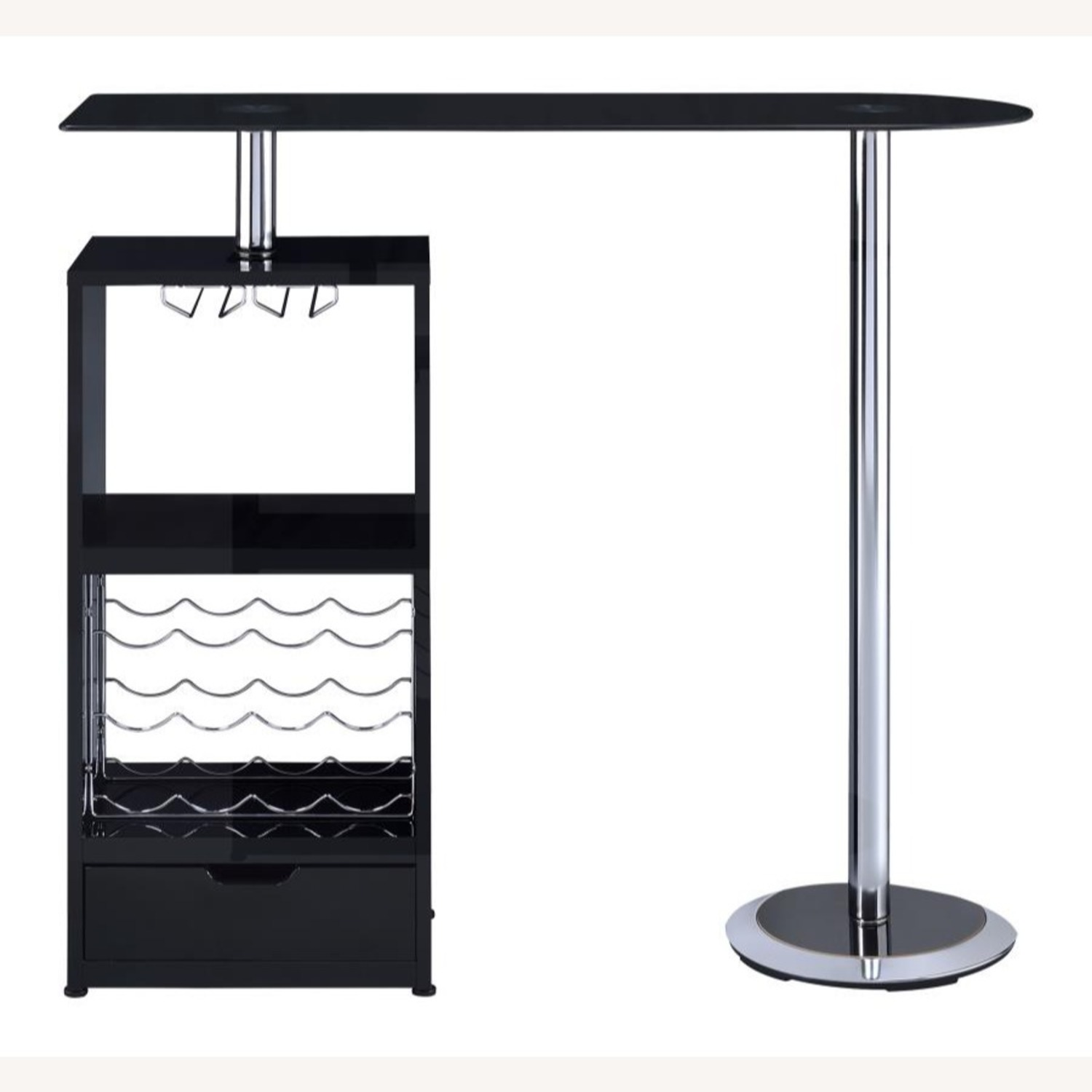Bar Table In High Gloss Black Lacquer Finish - image-2