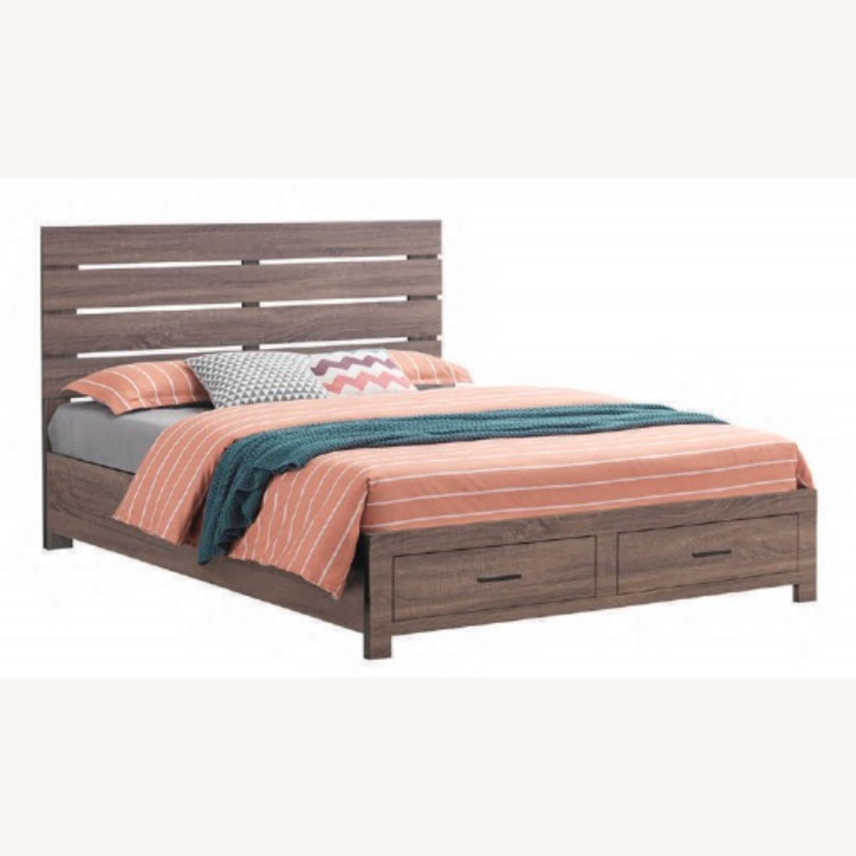 Storage Queen Bed In Barrel Oak Finish - image-1